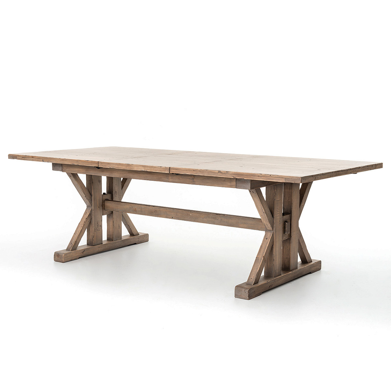 Natural Wood Dining Room Tables: Coastal Natural Wood Trestle Extension Dining Table 96