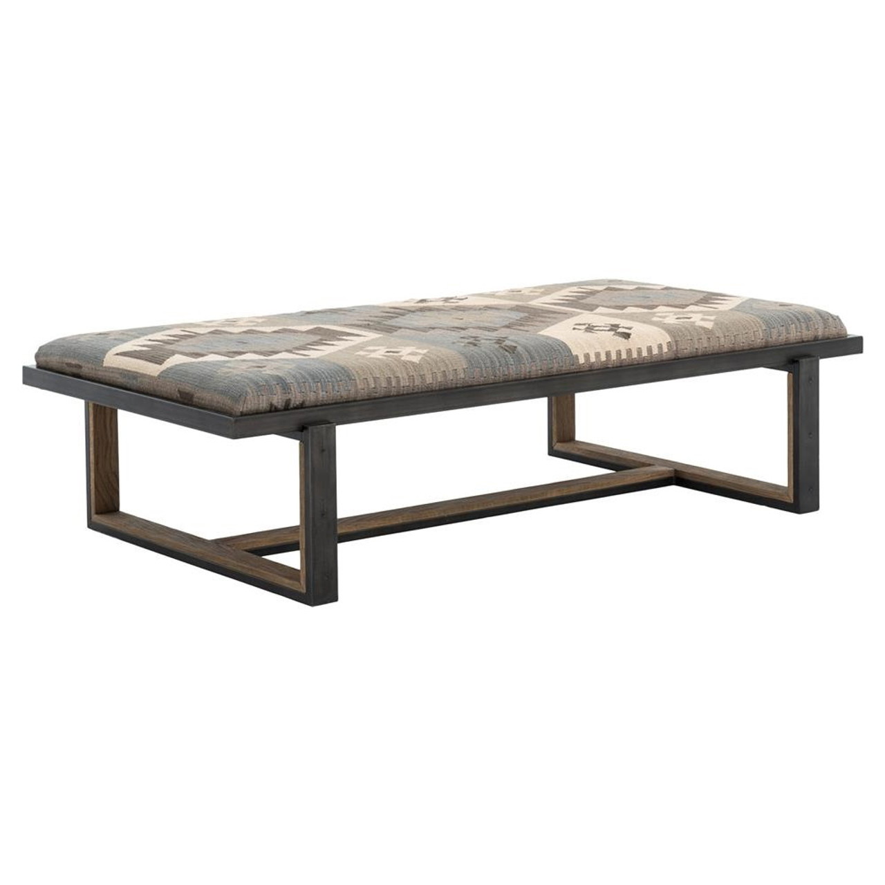 Eclectic iron and kilim upholstered coffee table ottoman zin home eclectic  iron and kilim upholstered coffee