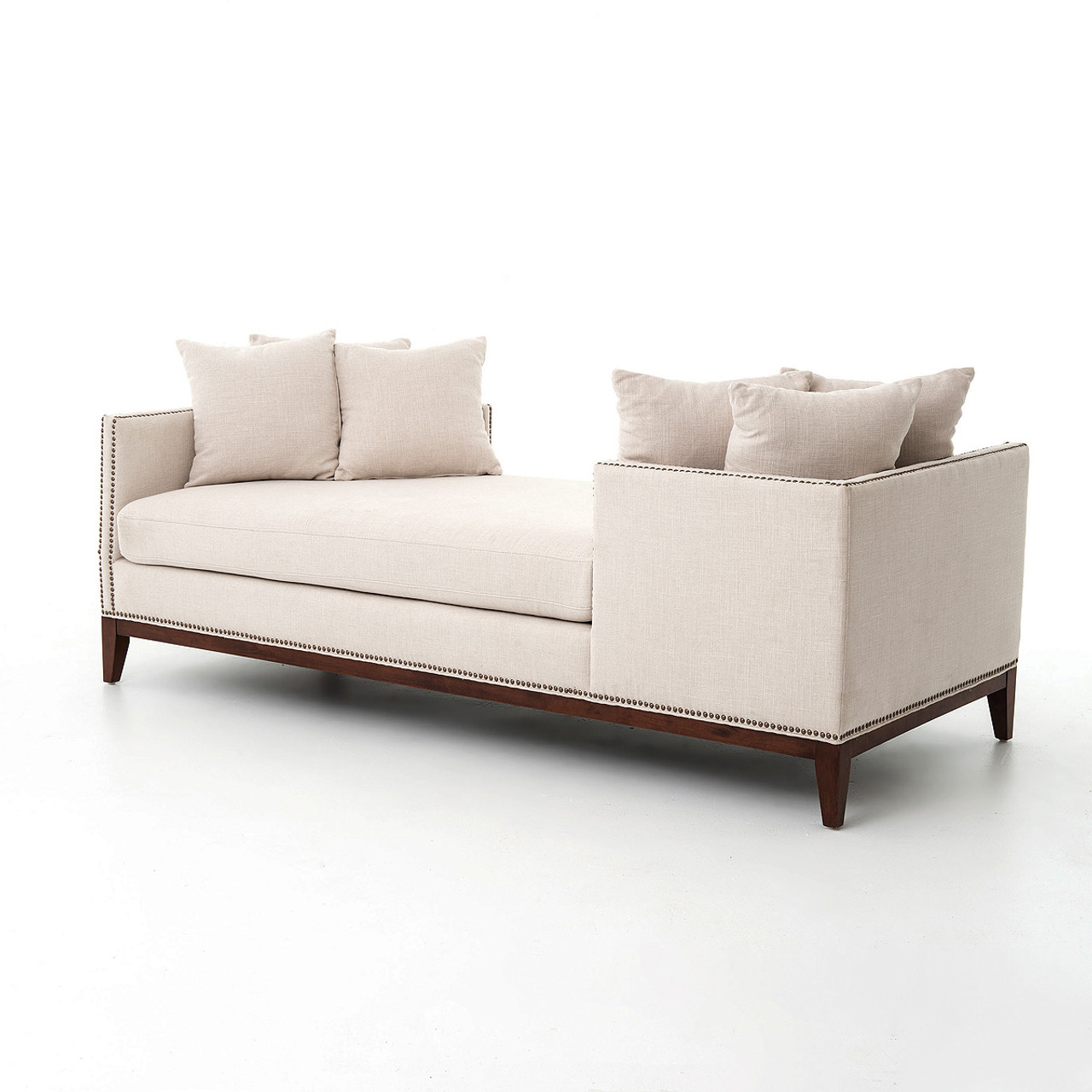 Kensington Beige Upholstered Double Chaise Daybed  sc 1 st  Zin Home : double chaise - Sectionals, Sofas & Couches