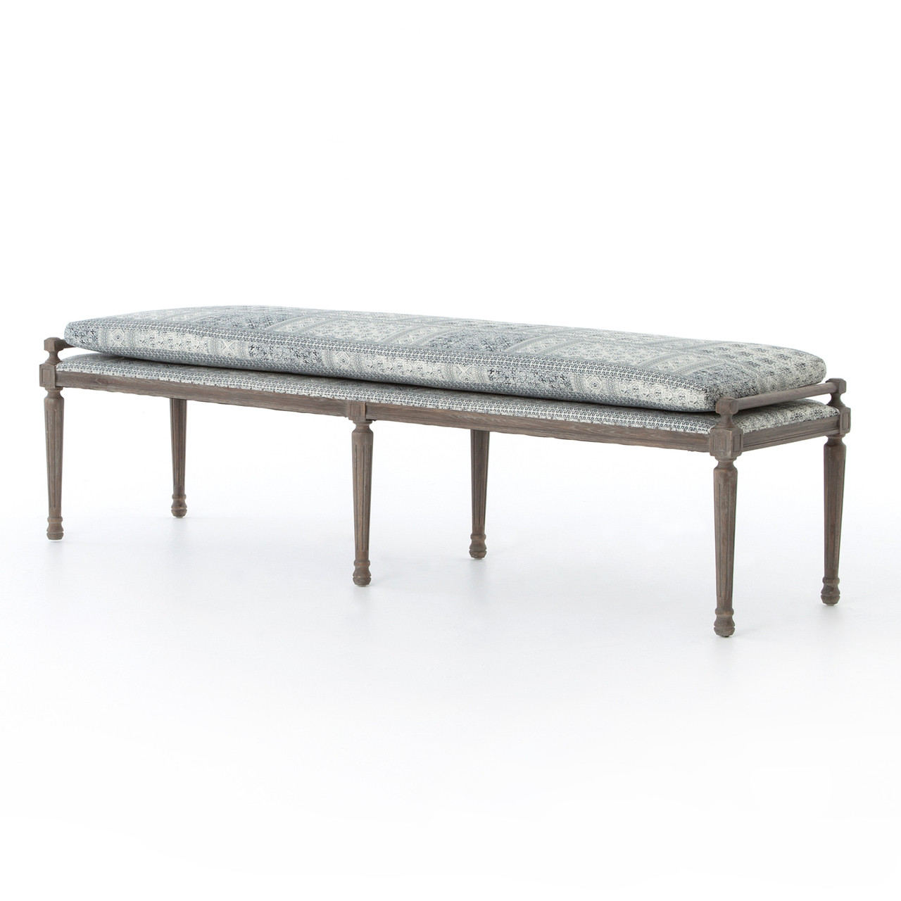 Lucille Batik Indigo Upholstered Bed End Bench | Zin Home