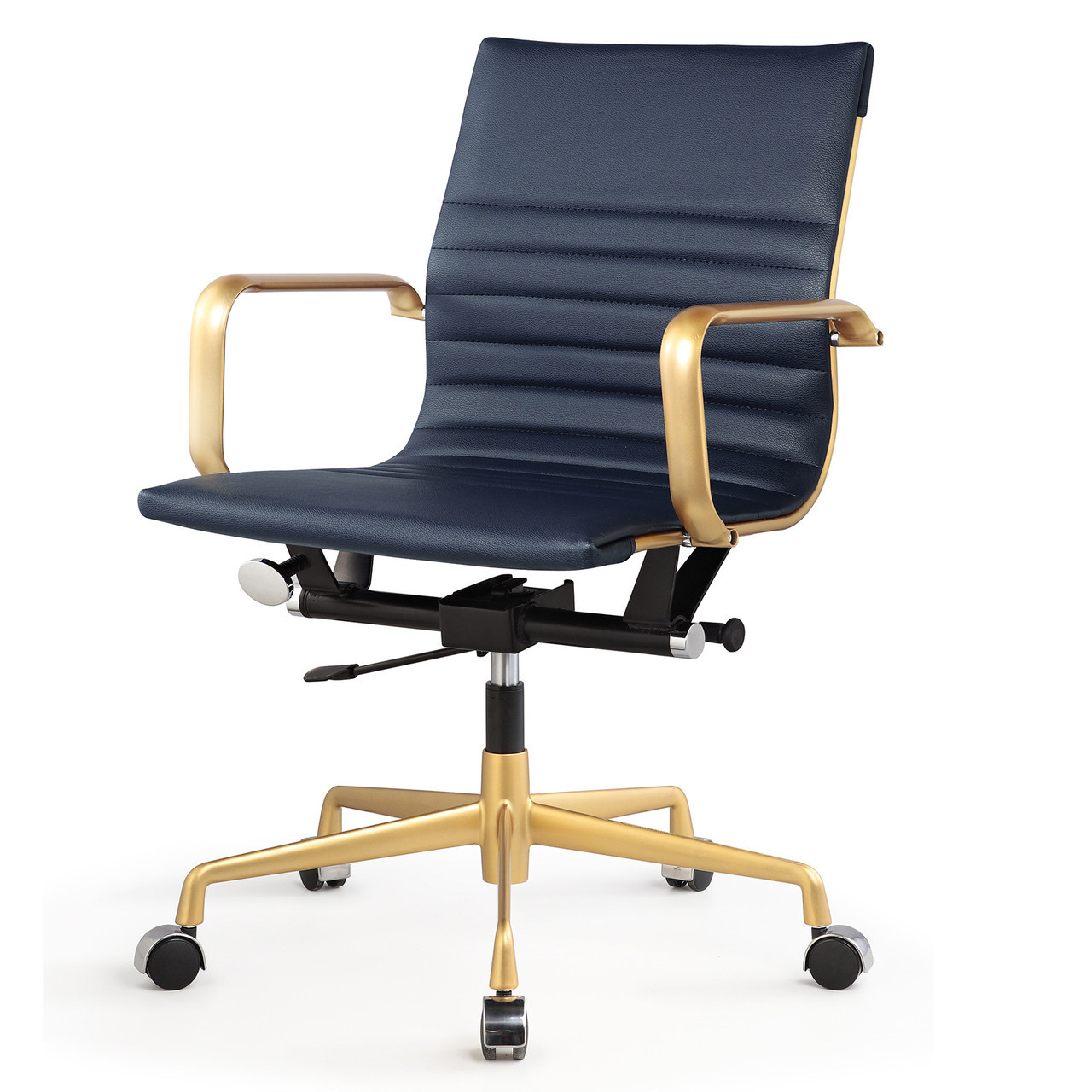Gold And Navy Blue Vegan Leather M348 Modern Office Chairs | Zin Home