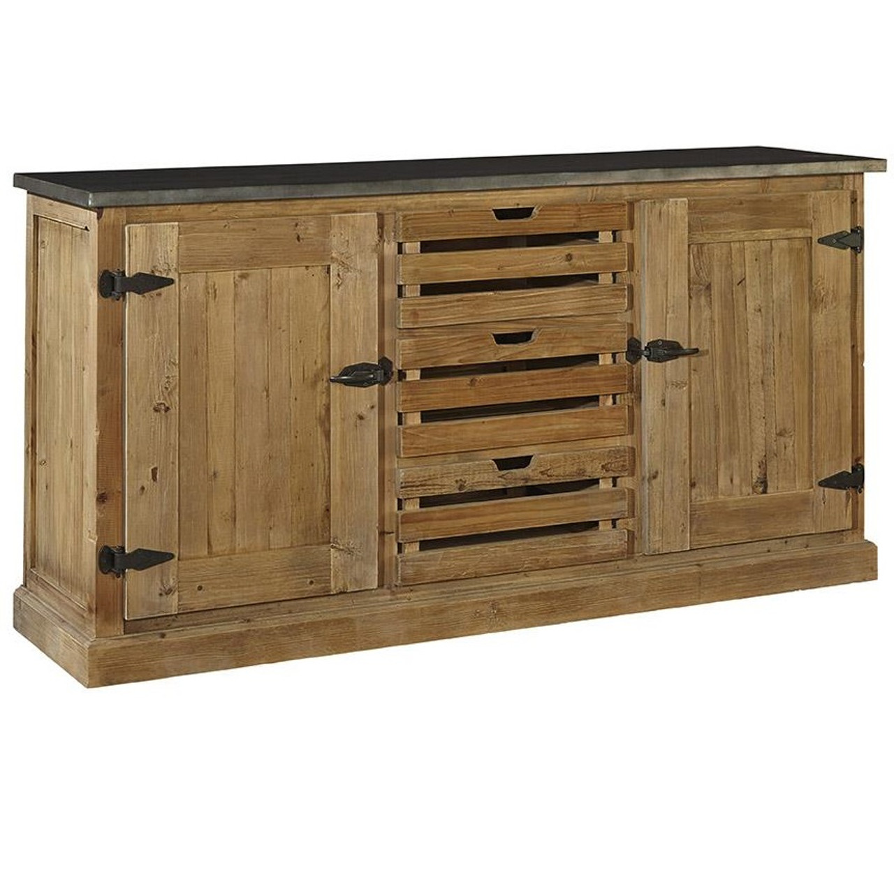 Farmhouse Zinc Top Reclaimed Wood Buffet Sideboard Furniture