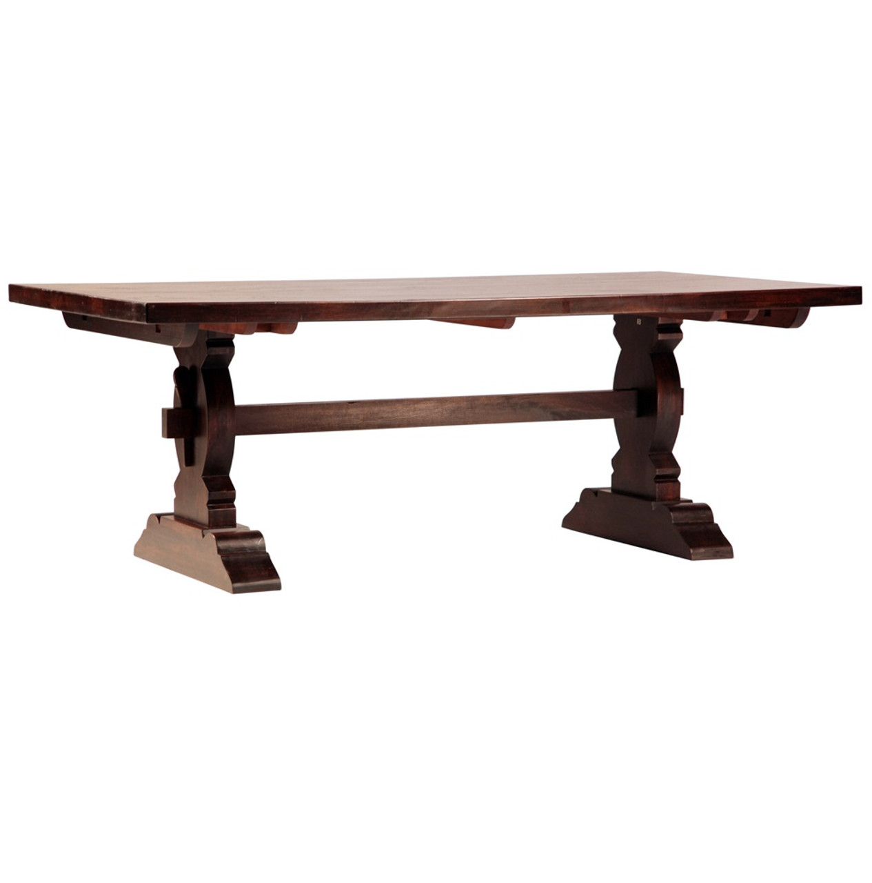 Cordoba Dark Wood Trestle Extension Dining Table 120 Zin Home
