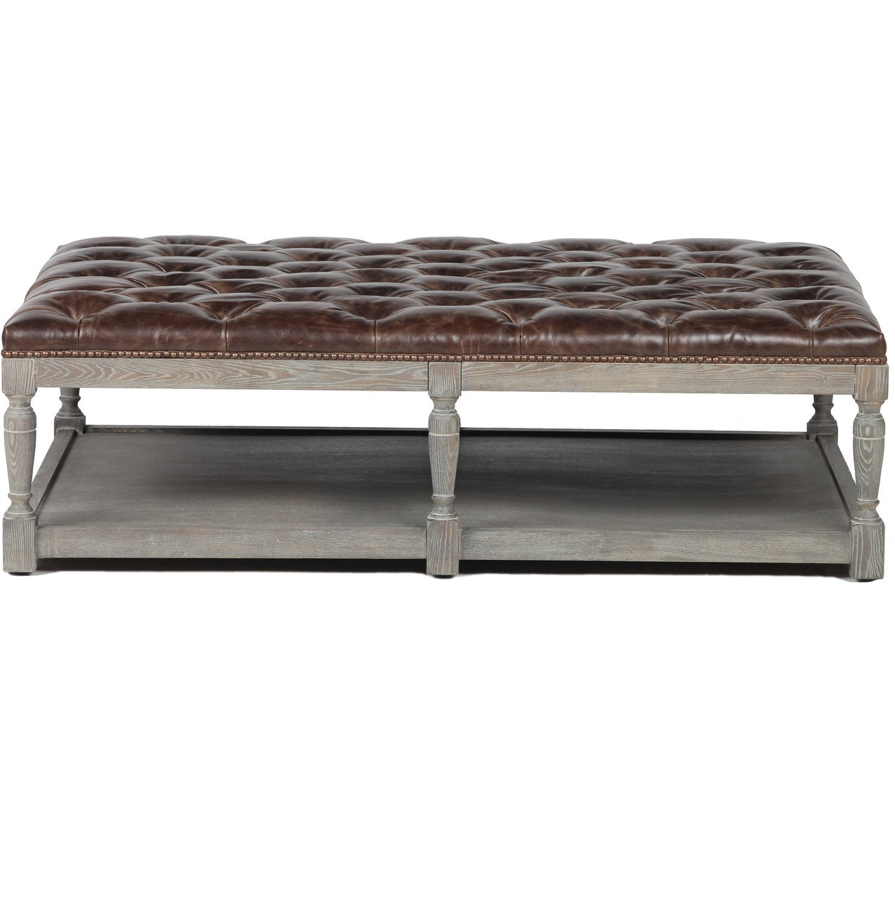 Beautiful Thomas Chesterfield Tufted Leather Coffee Ottoman