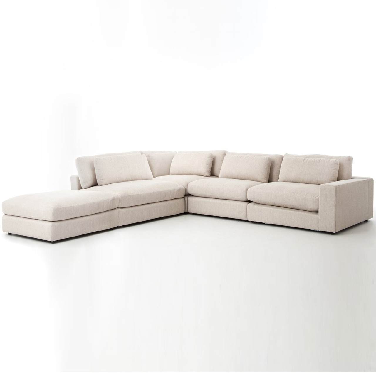 Bloor Beige Contemporary 5 Piece Corner Sectional Sofa Zin Home