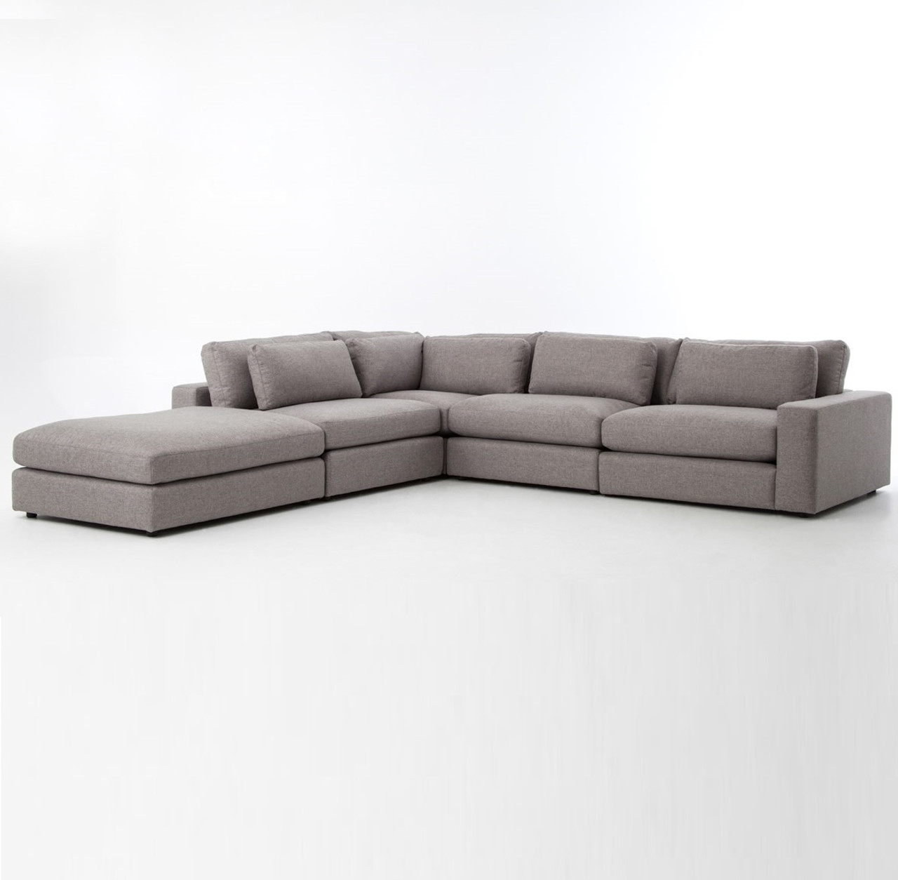 Bloor gray contemporary 5 piece corner sectional sofa for 5 piece grey sectional sofa