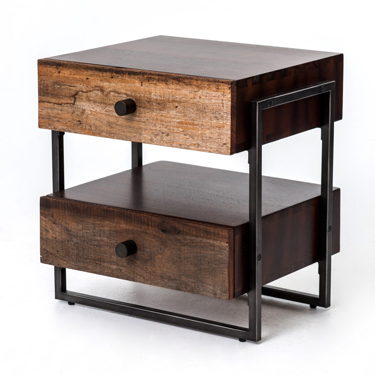 End table with drawer - Milo Industrial 2 Drawer End Table