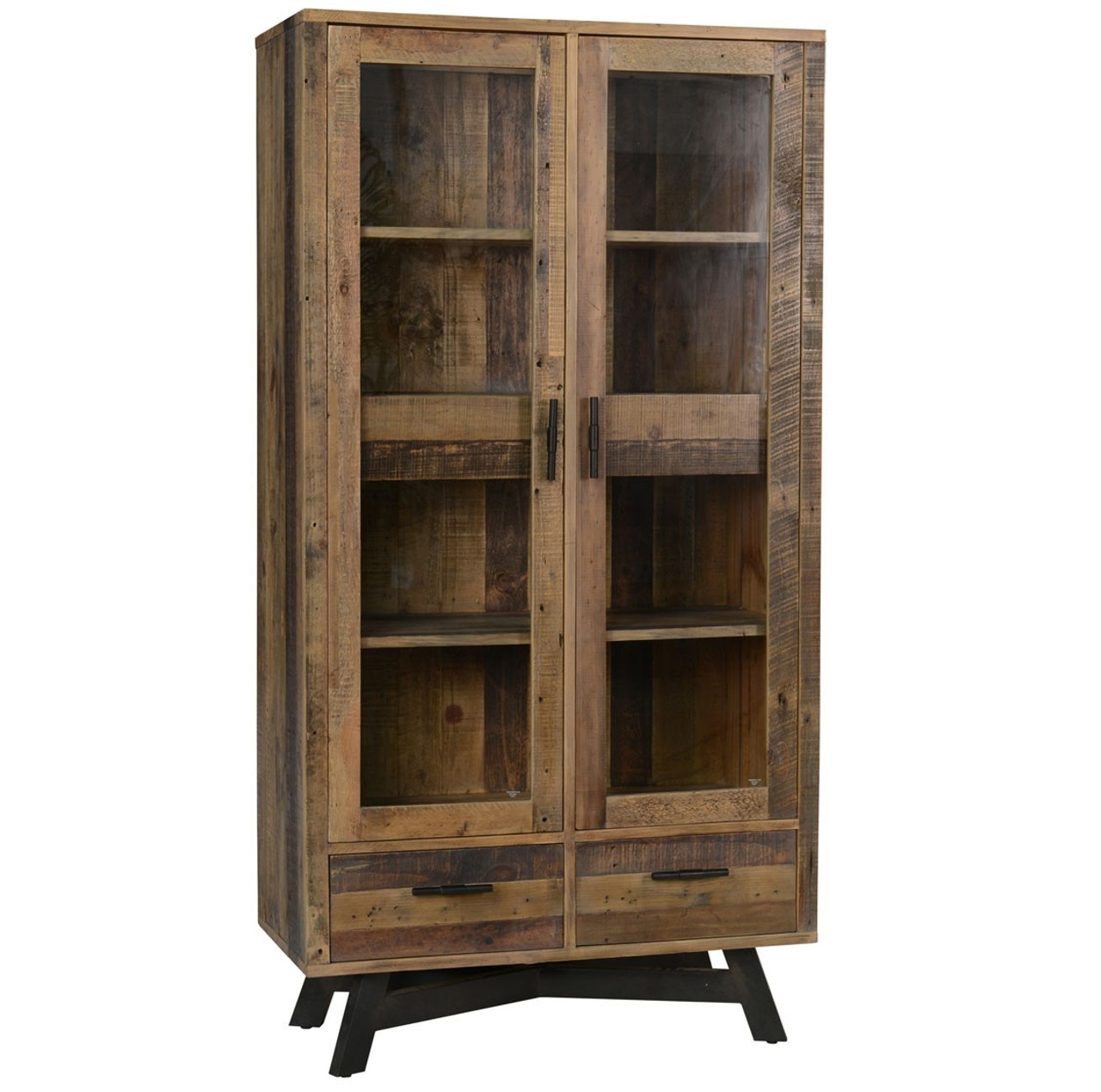Reclaimed Wood Rustic Home Office: Farmhouse Rustic Reclaimed Wood Curio Cabinet With Doors