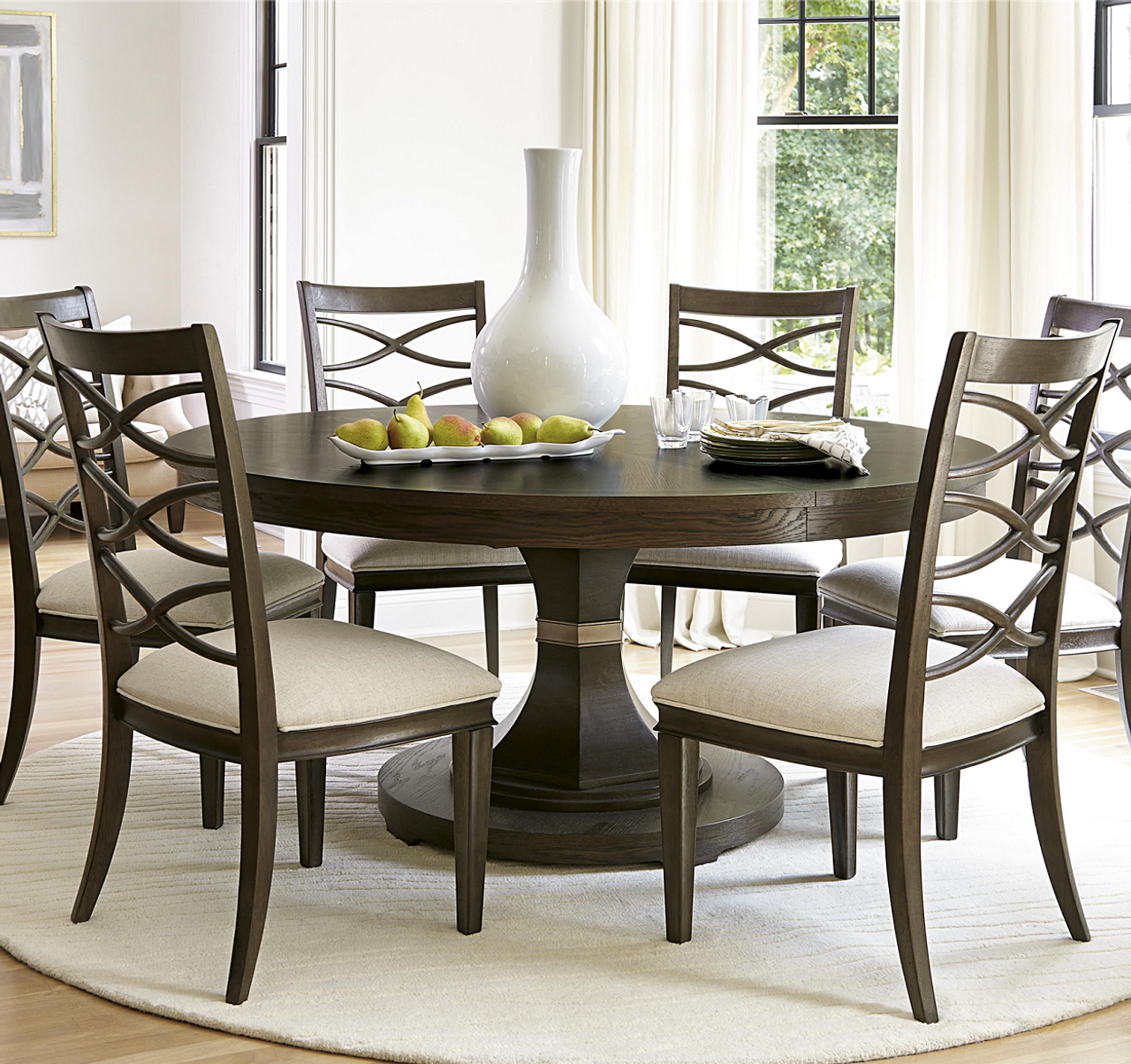 Round Kitchen Tables: California Rustic Oak Expandable Round Dining Table 64