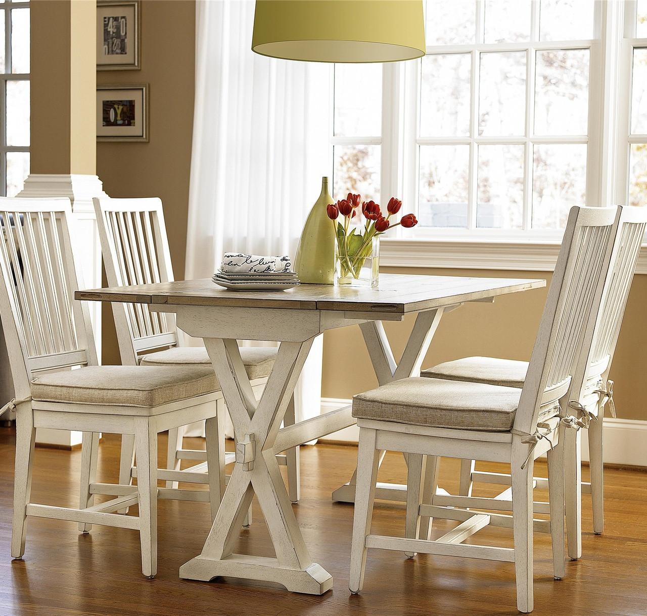 Drop Leaf Kitchen Table: Coastal Beach White Drop Leaf Kitchen Console Table