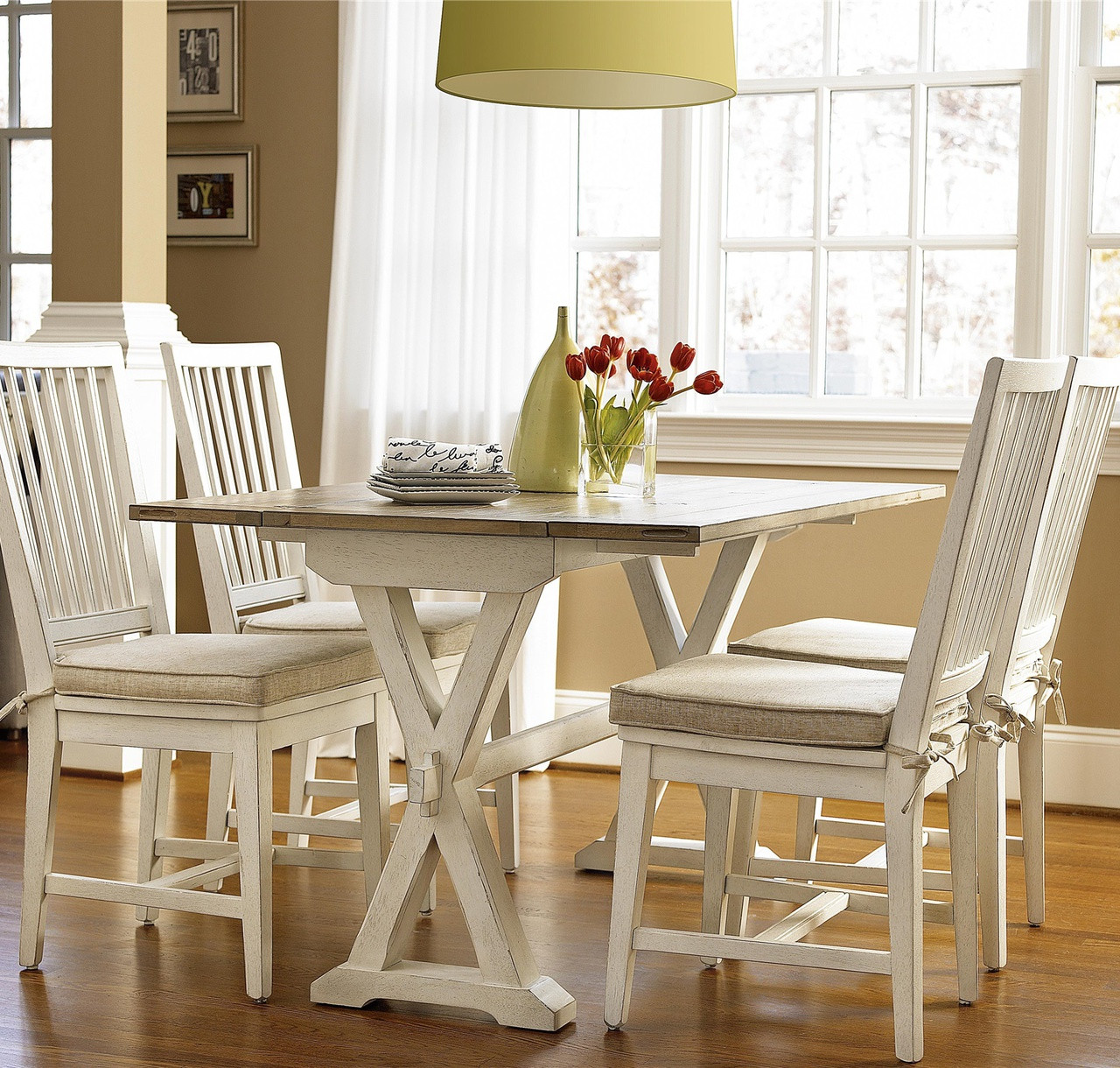Coastal Beach White Drop Leaf Kitchen Console Table