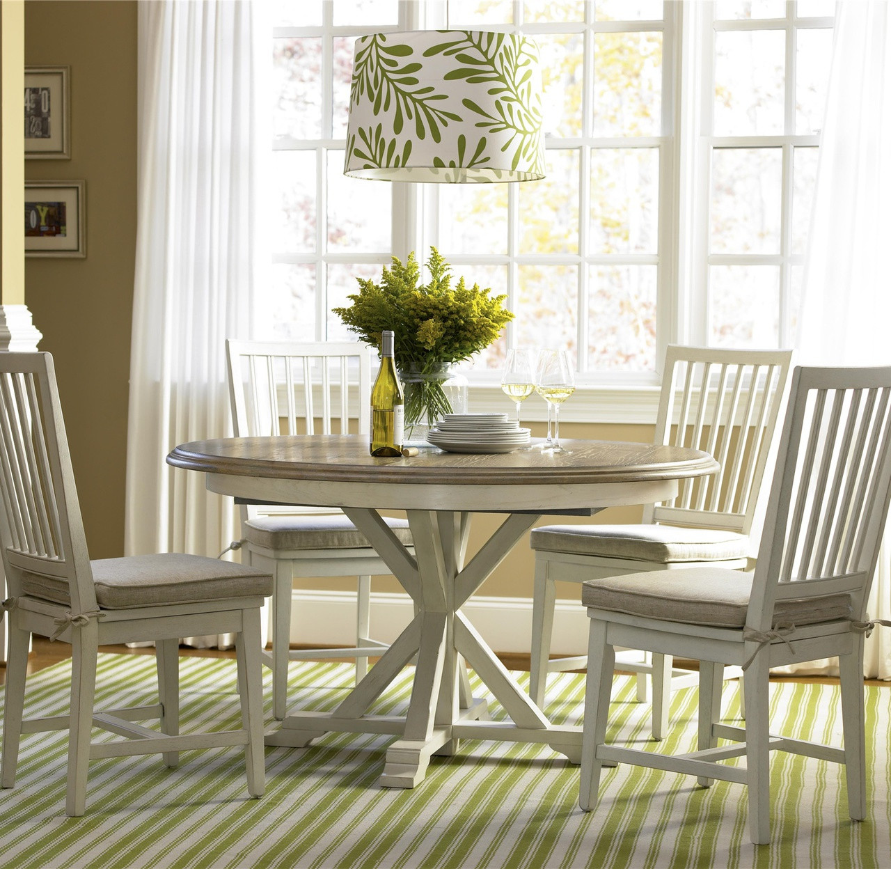 Awesome Coastal Beach White Oak Round Dining Room Set