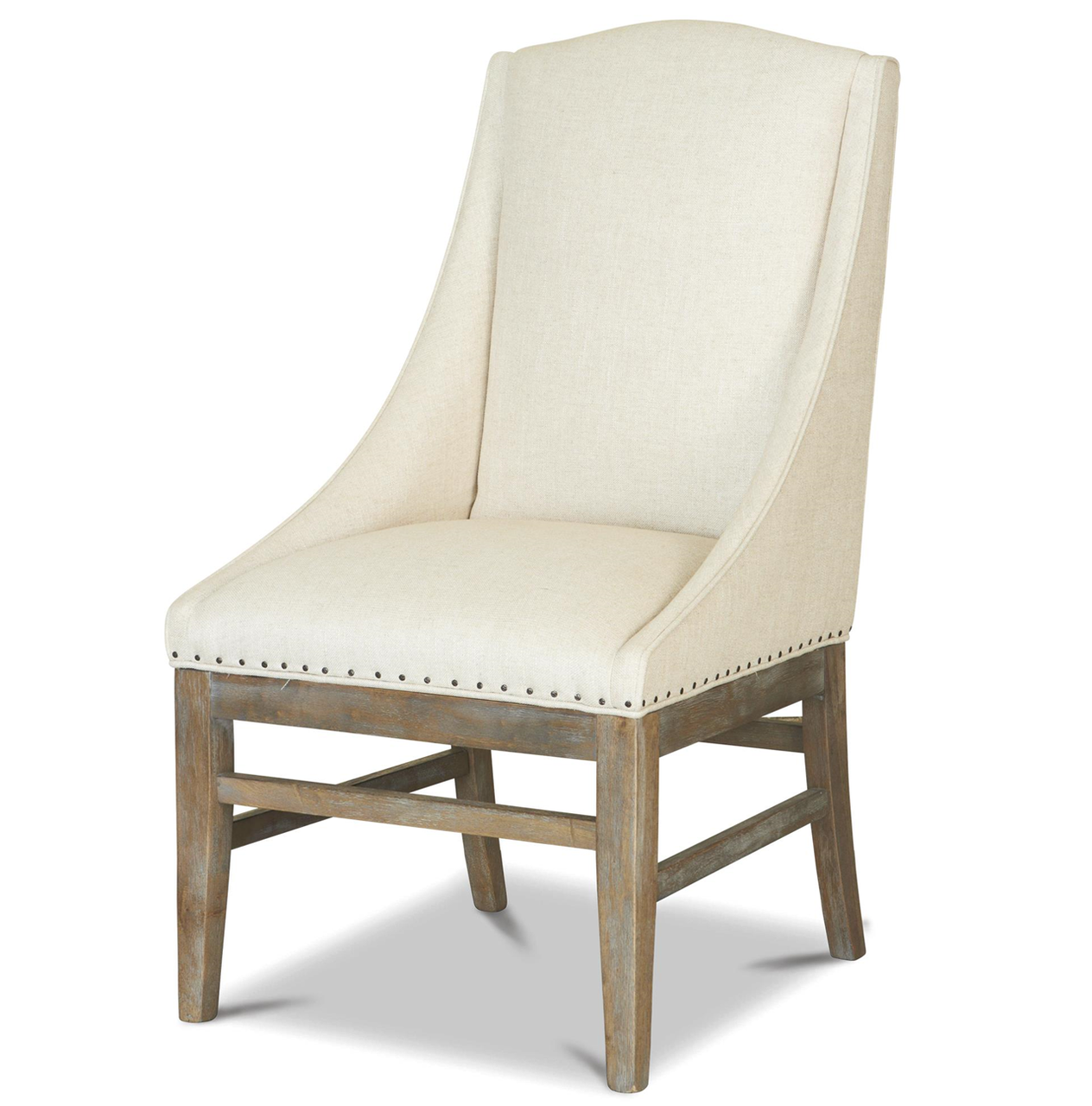 French Oak Nailhead Upholstered Dining Arm Chair