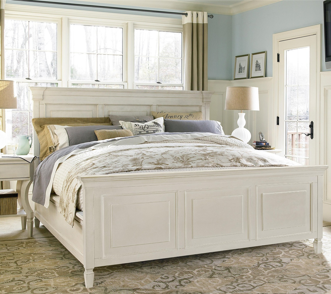 Country Chic White King Panel Bed Frame Zin Home
