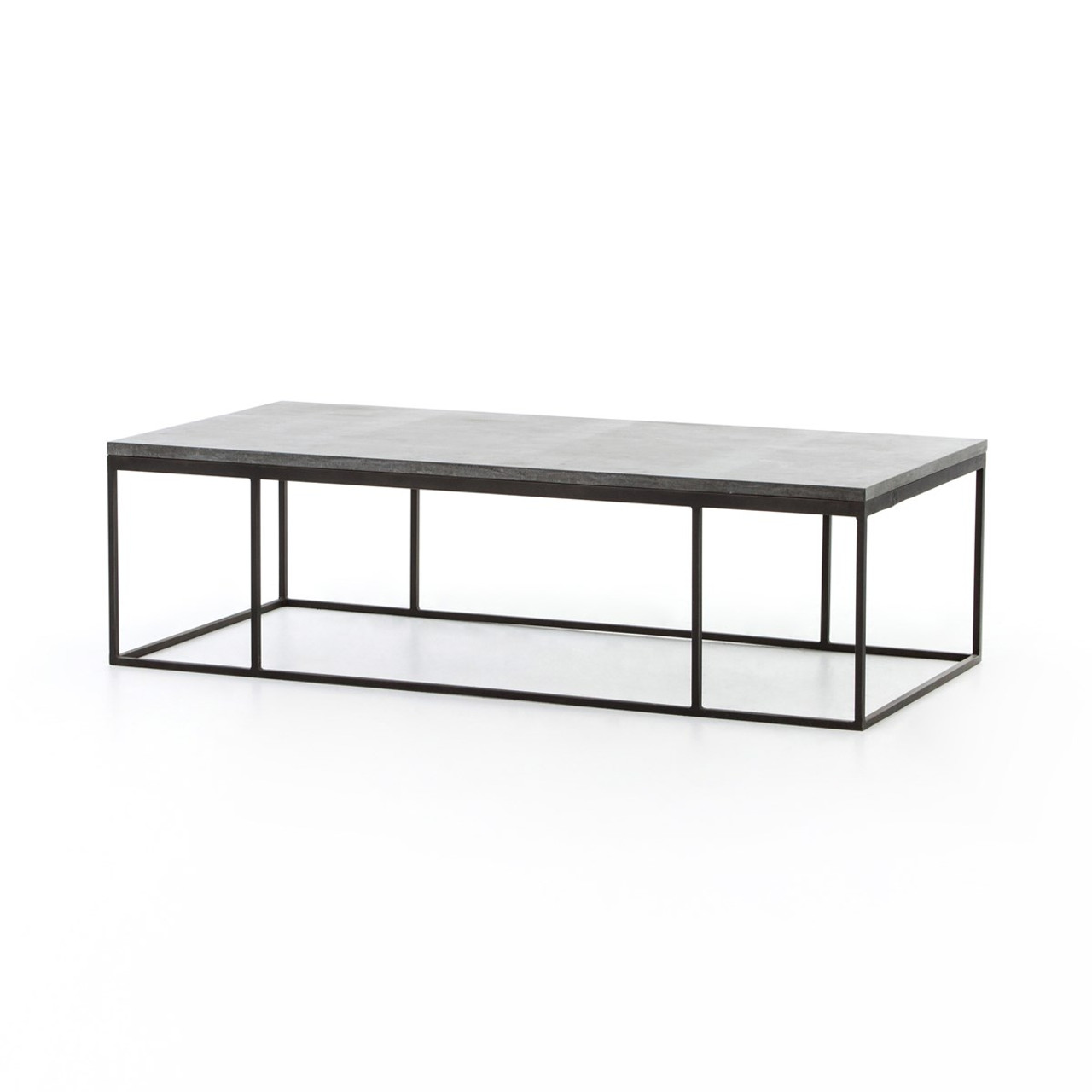 French industrial iron bluestone top coffee table zin home french industrial iron bluestone top coffee table geotapseo Image collections