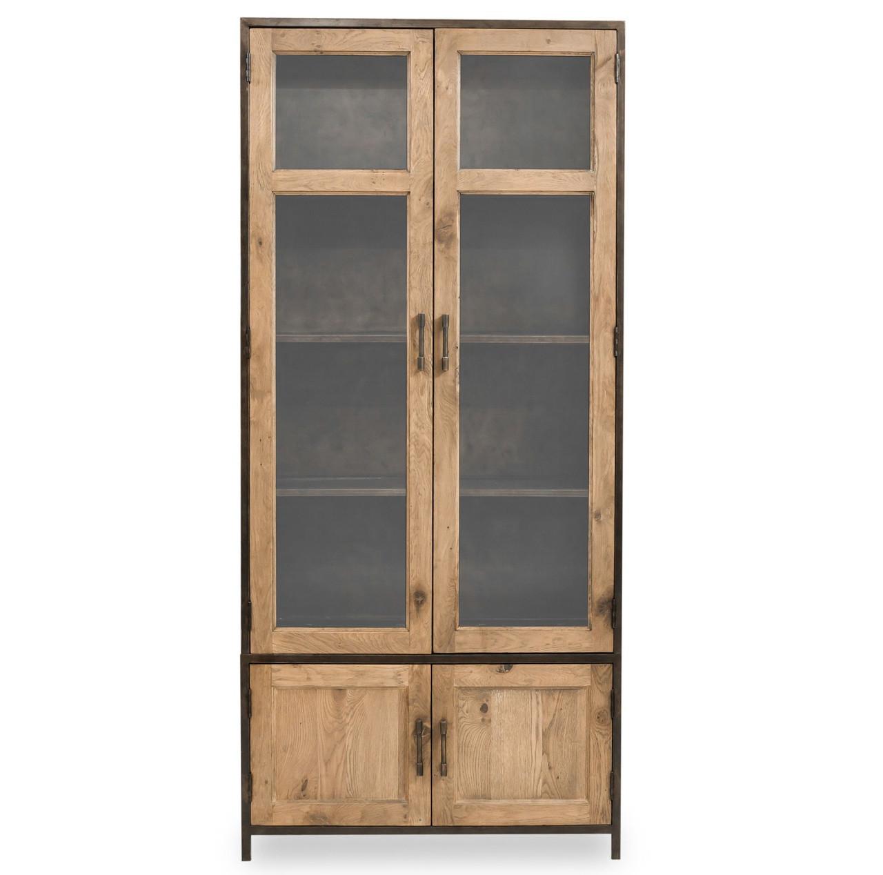 Dominic Industrial Metal + Oak Tall Cabinet with Glass Doors | Zin ...