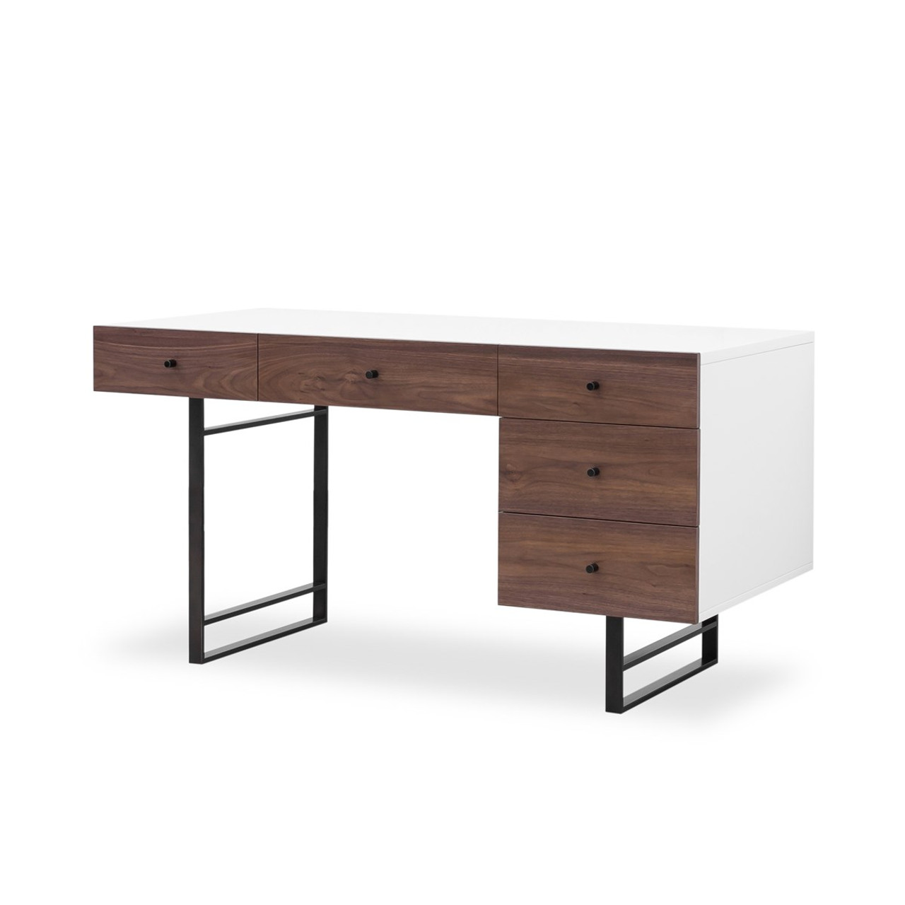 Mid-Century Modern White Lacquer Desk- Walnut | Zin Home