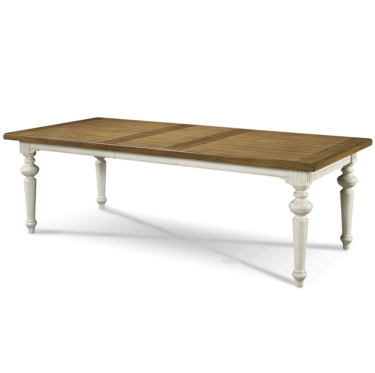 Country chic maple wood white extension dining table for White wood dining table