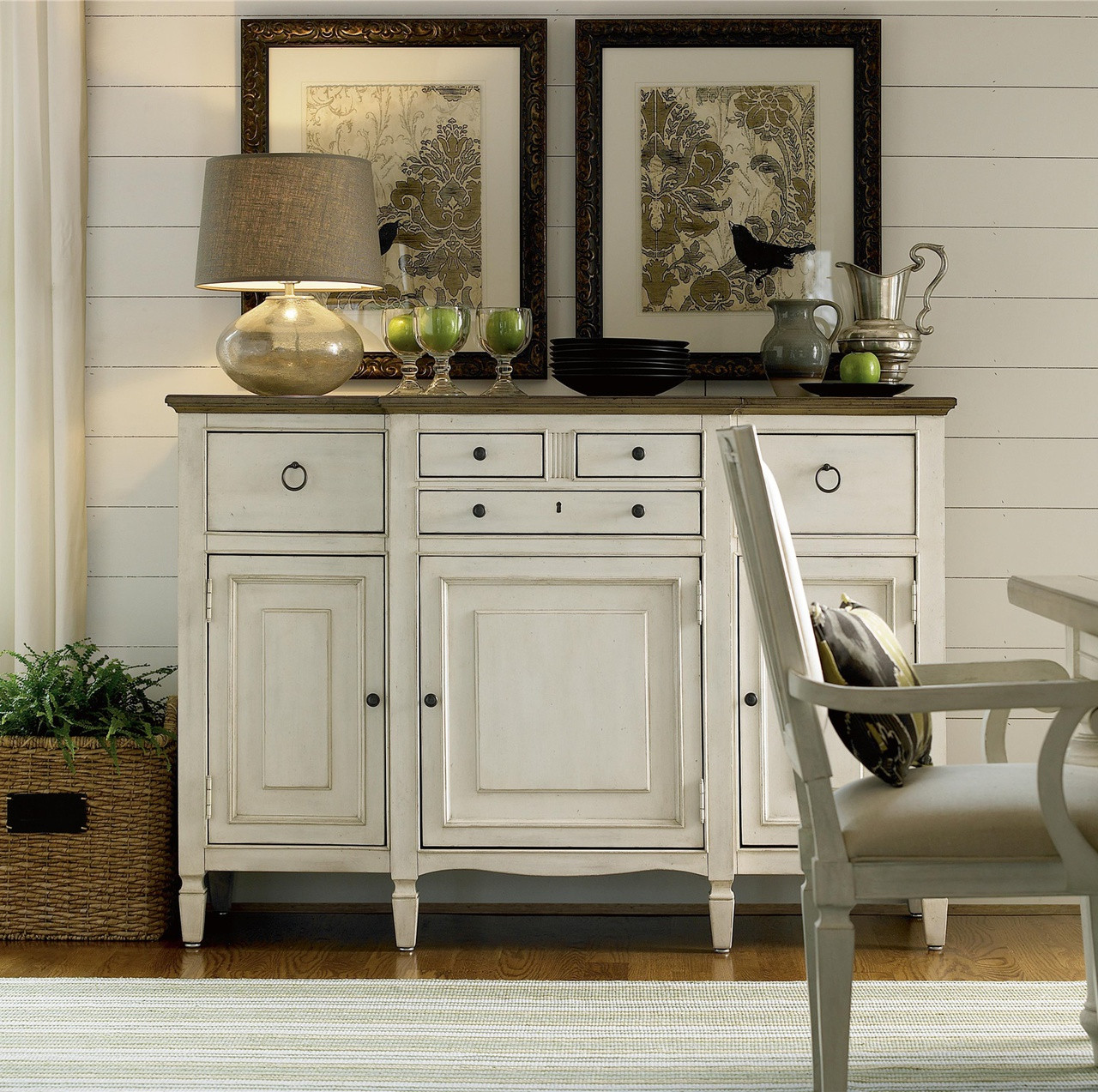 Country Chic Maple Wood White Buffet Server Cabinet
