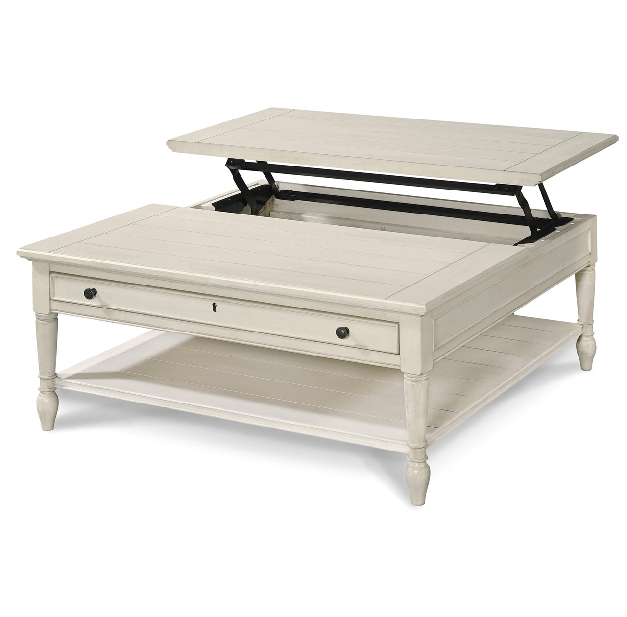 Square coffee table lift top - Country Chic White Wood Square Coffee Table With Lift Top