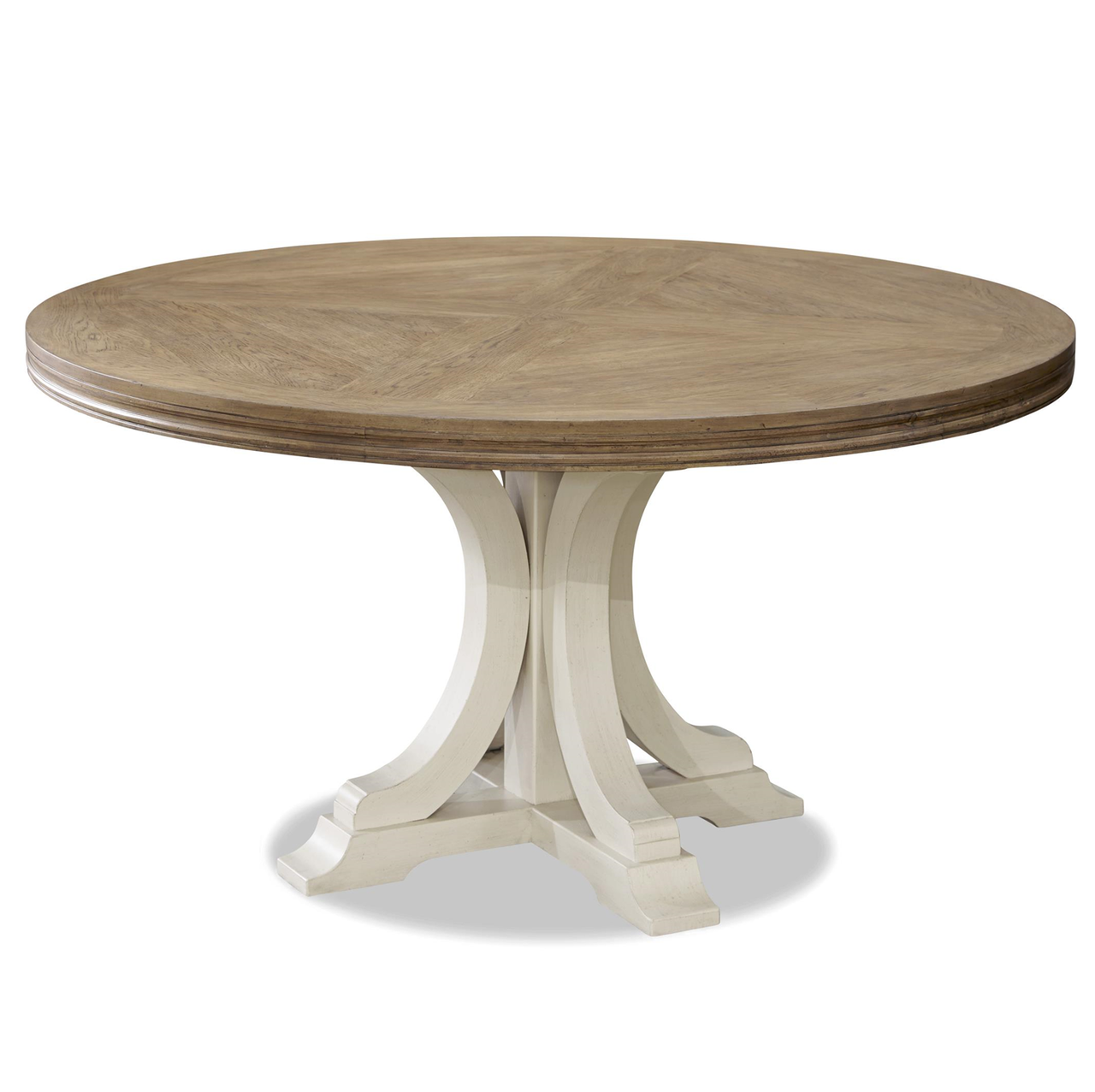 Nice French Modern White Wood Pedestal Round Dining Table