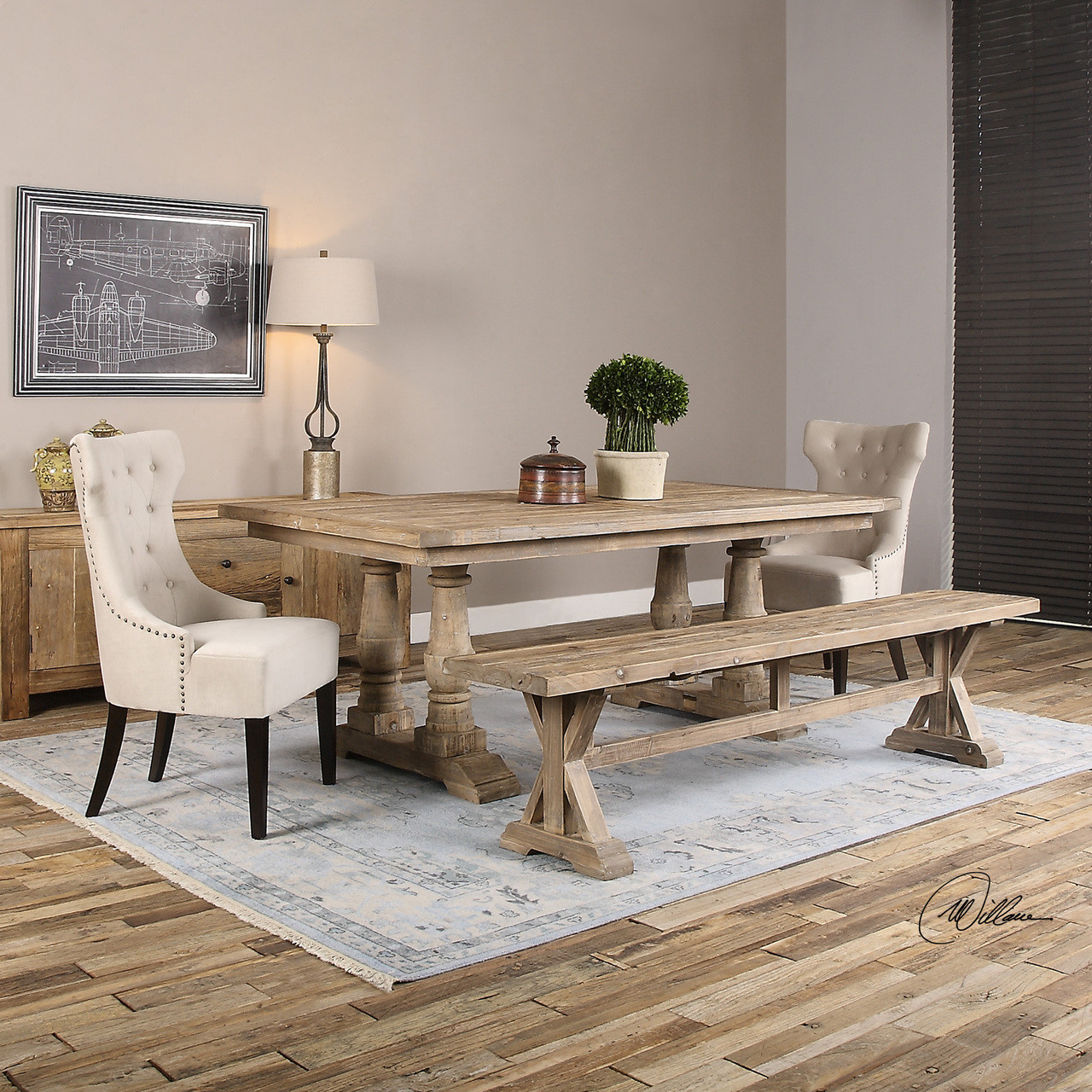 Salvaged Rustic Wood Trestle Dining Bench