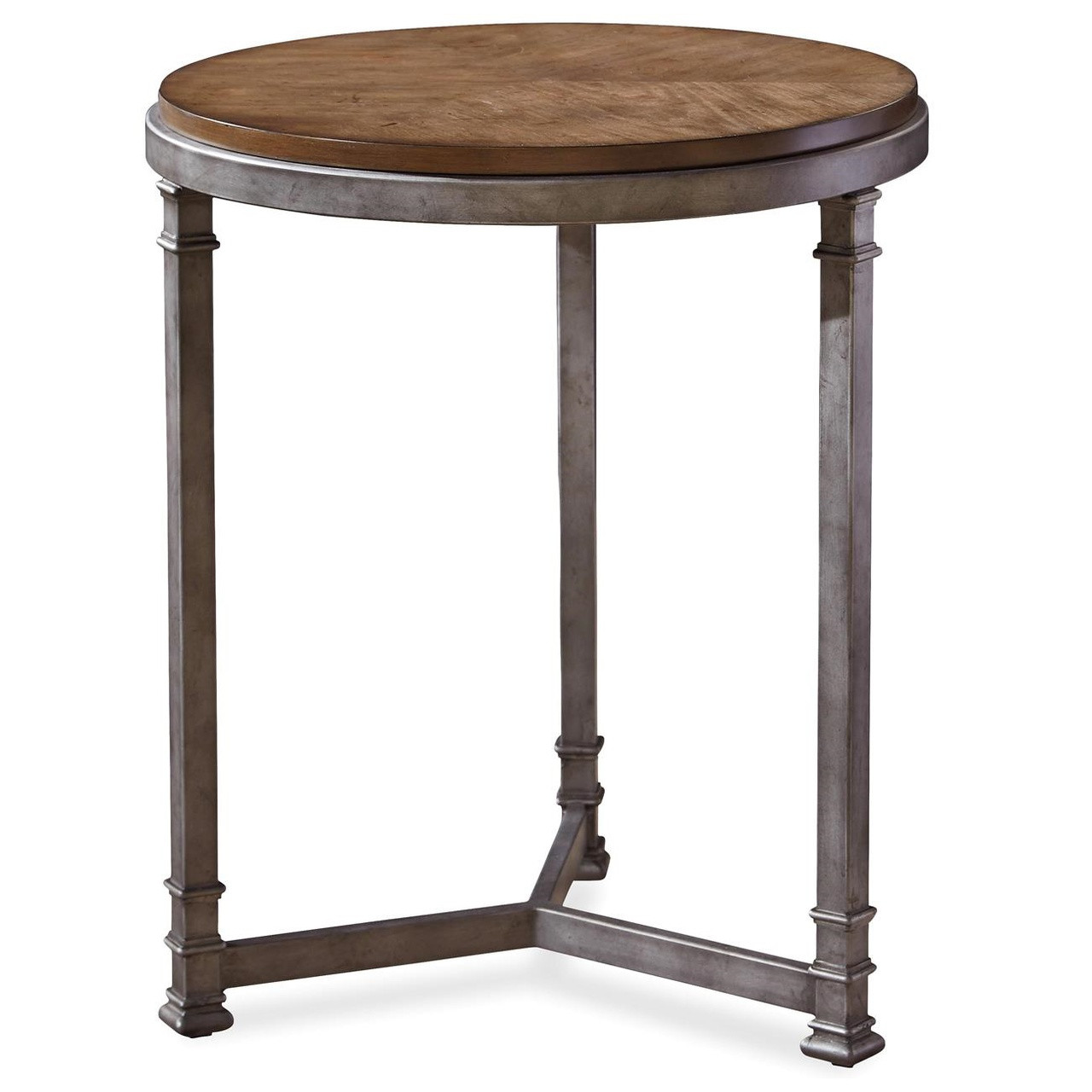 Maison Industrial Metal Leg Wood Round Side Table