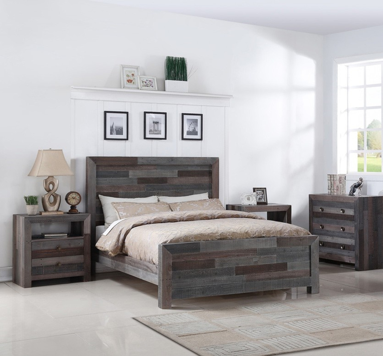 angora reclaimed wood california king platform bed - Wood King Bed Frame