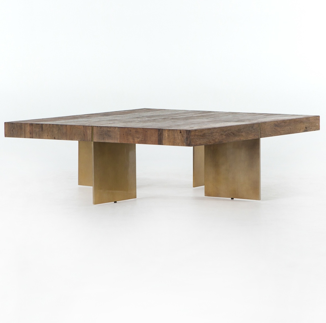 Alec Reclaimed Wood Square Coffee Table With Brass Legs Zin Home