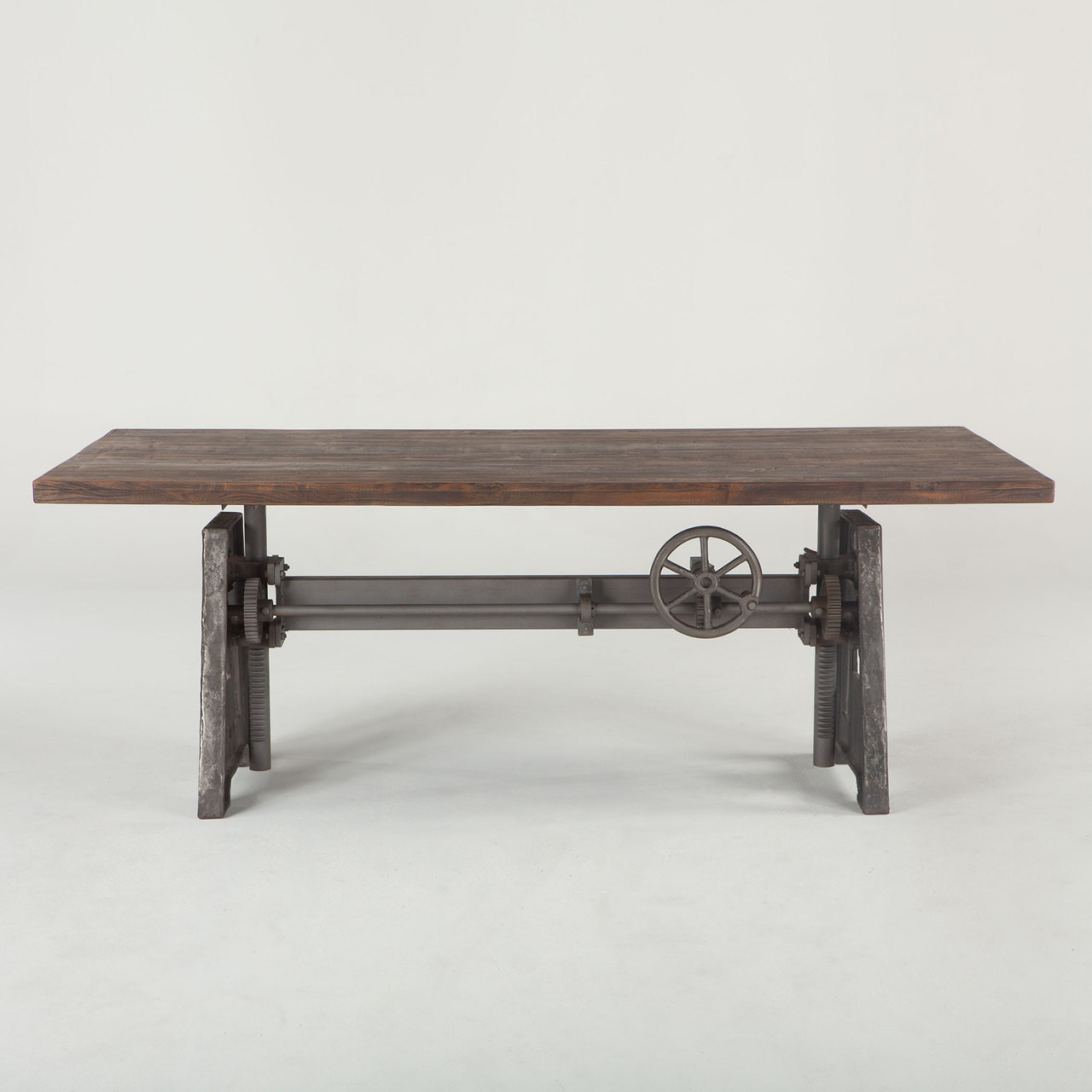 Steampunk Industrial Crank + Wood Top Work Table 84