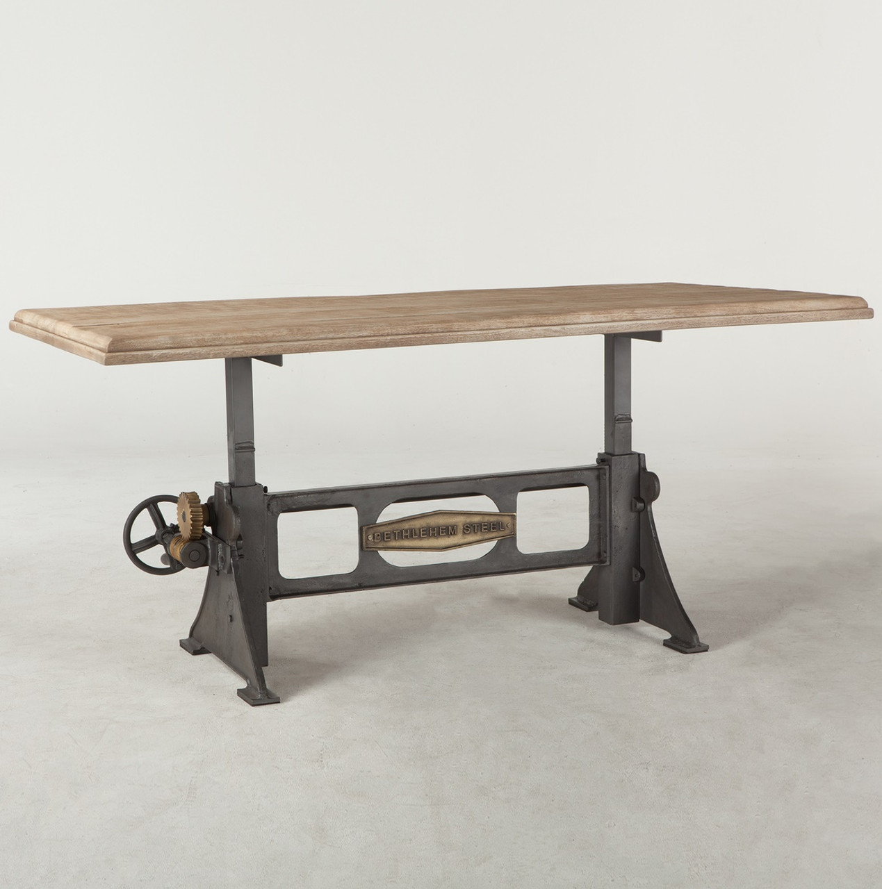 Steampunk industrial steel wood crank dining table 72 zin home steampunk industrial steel wood crank dining table 72 geotapseo Image collections