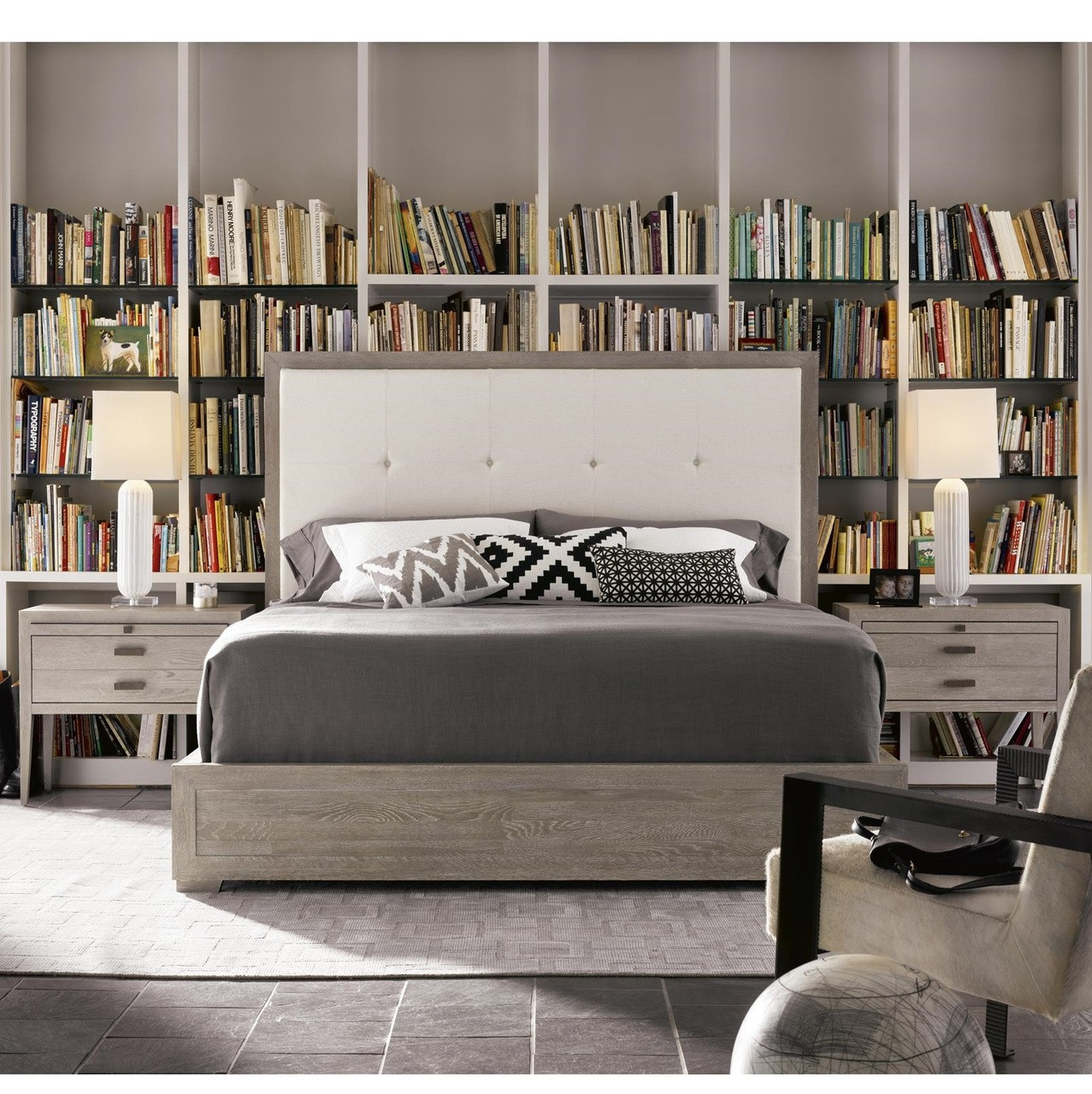 Nolan Modern Grey Oak Tufted Headboard Queen Platform Bed