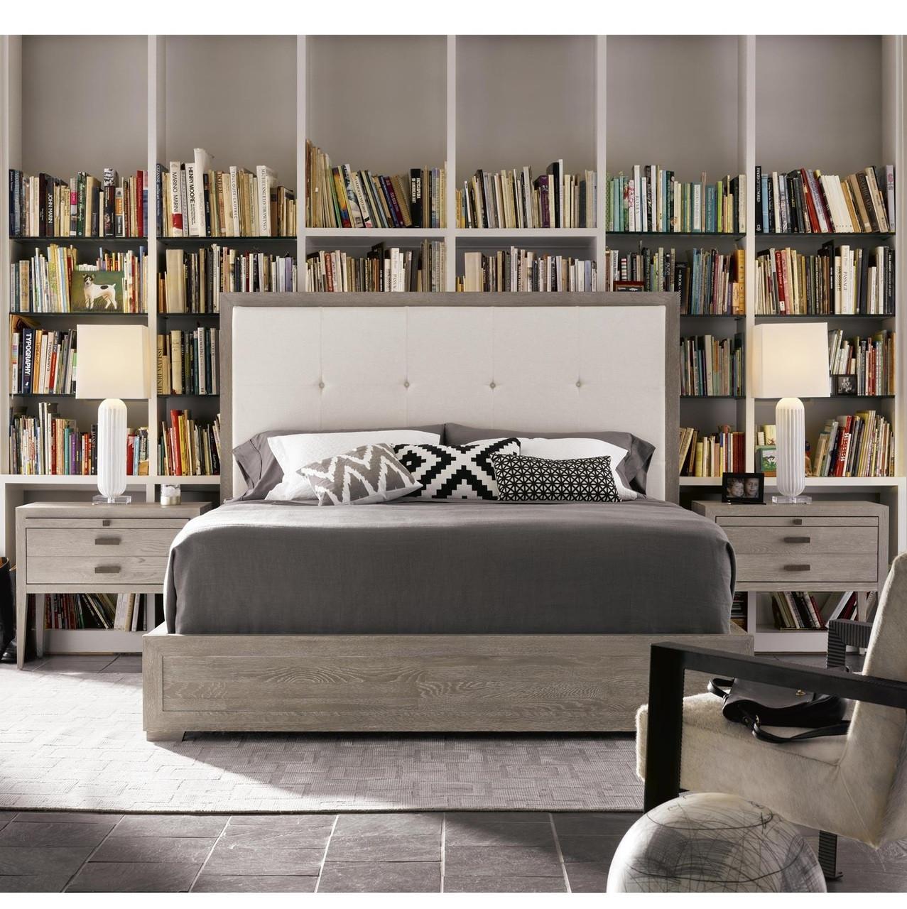 nolan modern grey oak tufted headboard queen platform bed