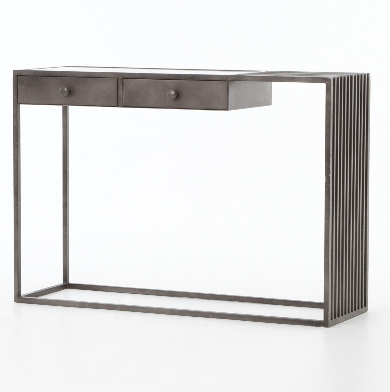 Regan industrial iron and white marble console table zin home regan industrial iron and white marble console table geotapseo Choice Image