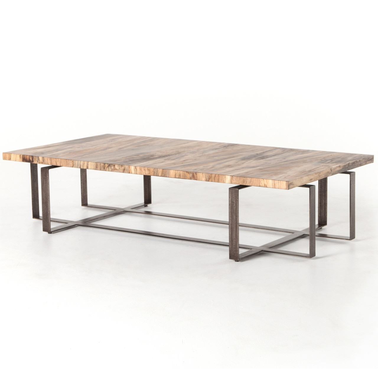 Rustic reclaimed wood coffee tables modern wood coffee table brant spalted wood and iron leg large coffee table 65 geotapseo Images
