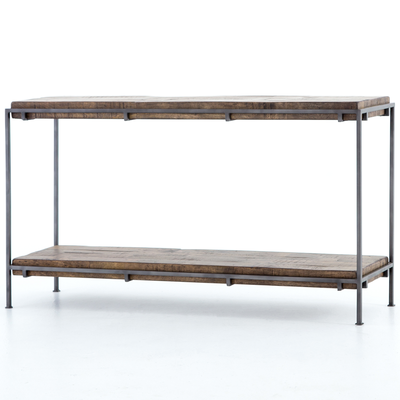Delightful Simien Iron Frame + Slab Wood Console Table