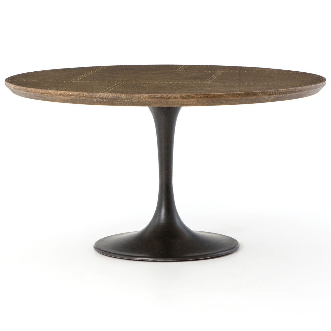 Aero Tulip Industrial Brass Clad Top Round Dining Table 55. Modern   Vintage Industrial Style Furniture   Zin Home