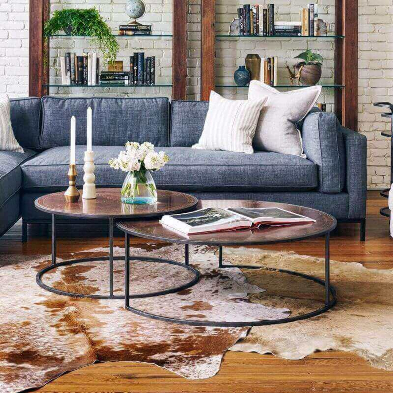 Catalina Copper Clad Round Nesting Coffee Tables Zin Home