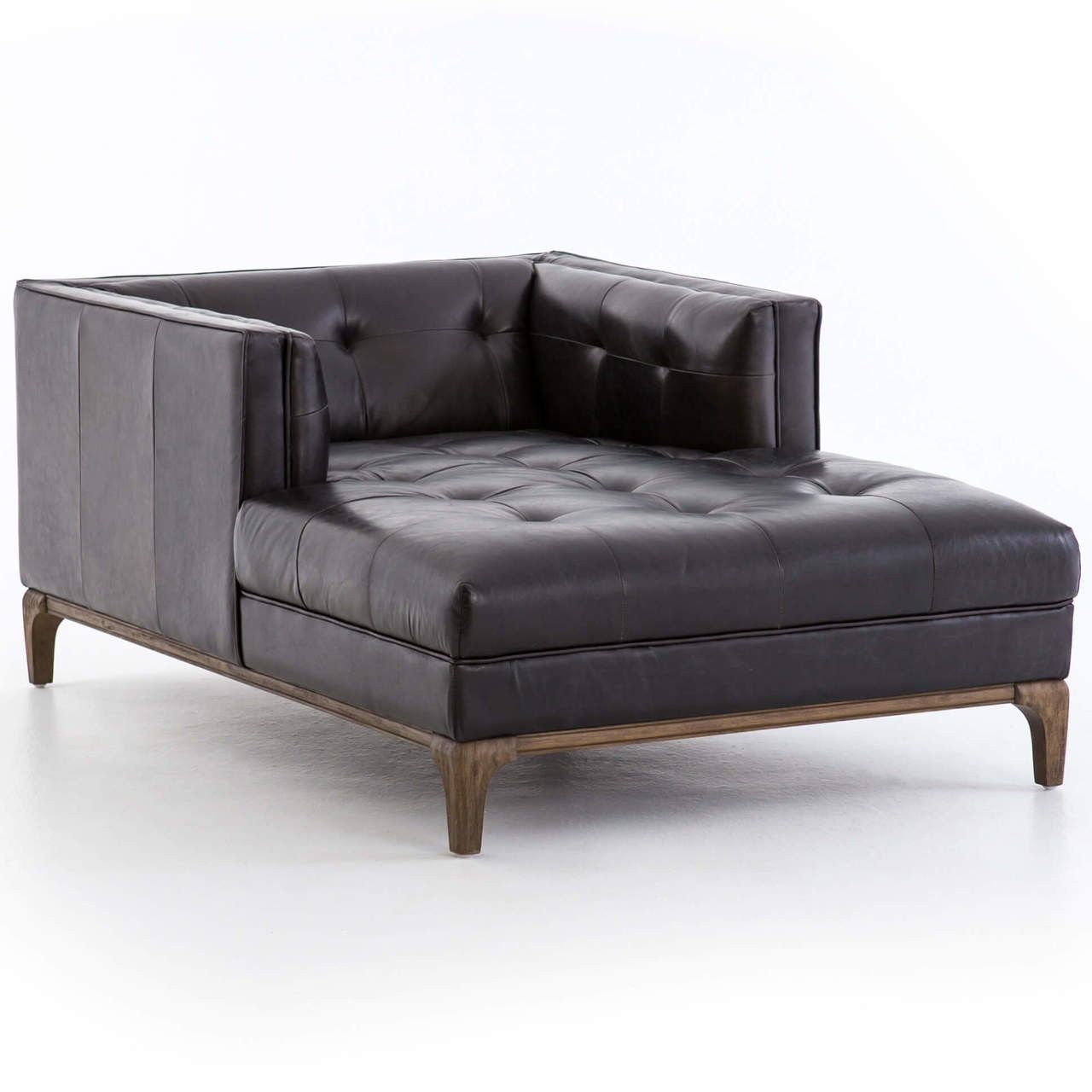 Dylan Mid Century Modern Black Leather Chaise Lounge