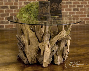 Driftwood Glass Top Round Cocktail Table