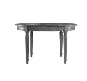 """French Vintage Gray Oak Round Dining Table 48"""""""