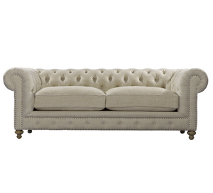 "Cigar Club 90"" Linen Upholstered Chesterfield Sofa"