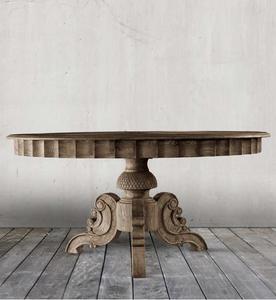 "Parisian Vintage Oak Round Dining Table 55"""