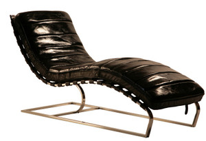 st james leather chaise cognac zin home. Black Bedroom Furniture Sets. Home Design Ideas