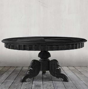 "Parisian Antique Black Round Pedestal Dining Table 63"""