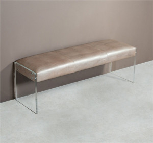 Nori Lizard Leather Bench with Acrylic Legs