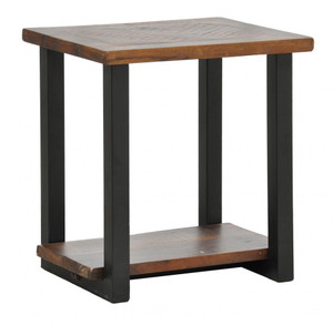 Loft Geometric Metal Base Wood End Table