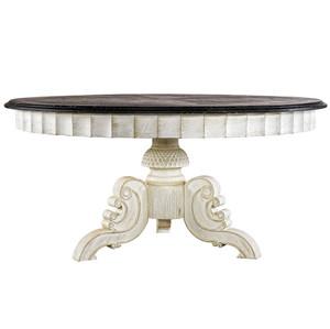 "Parisian Black + White Round Pedestal Dining Table 63"""