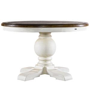 "Kingdom Antique White Oak Round Pedestal Dining Table 48"""