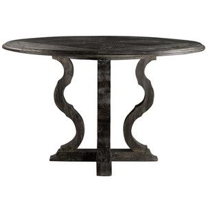 """French Antique Black Round Pedestal Dining Table 50"""""""